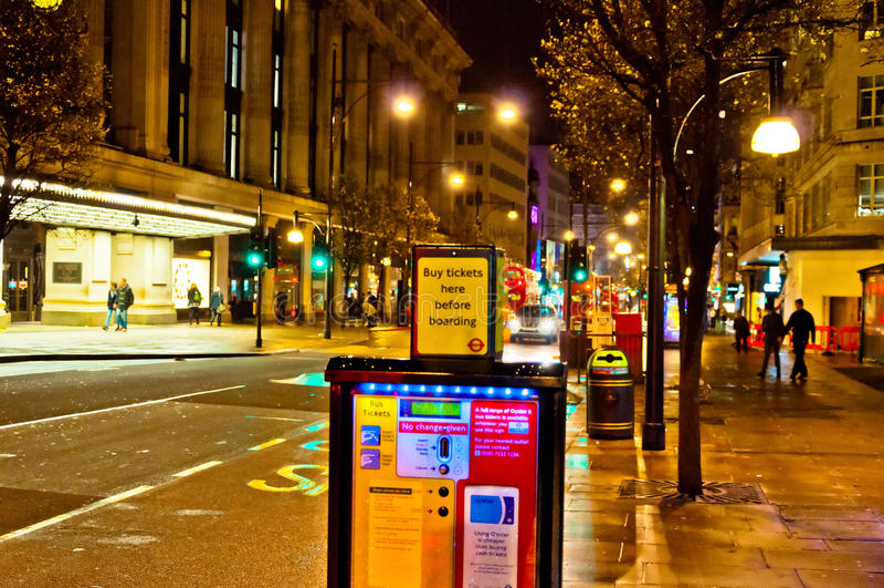Oxford street night view in London, UK stock photo