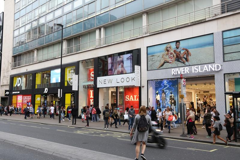 Oxford Street shops editorial stock photo. Image of ...