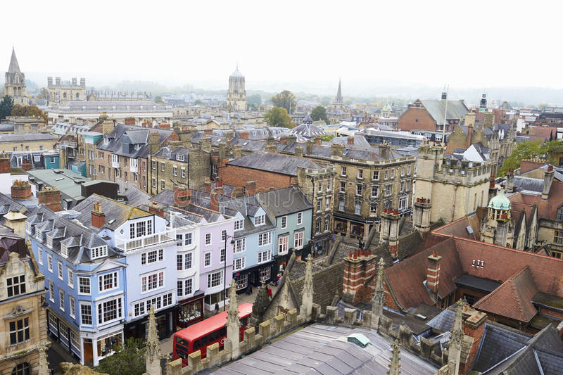OXFORD/ UK- OCTOBER 26 2016: Aerial View Of Oxford City From Church Of St Mary The virgin stock photo