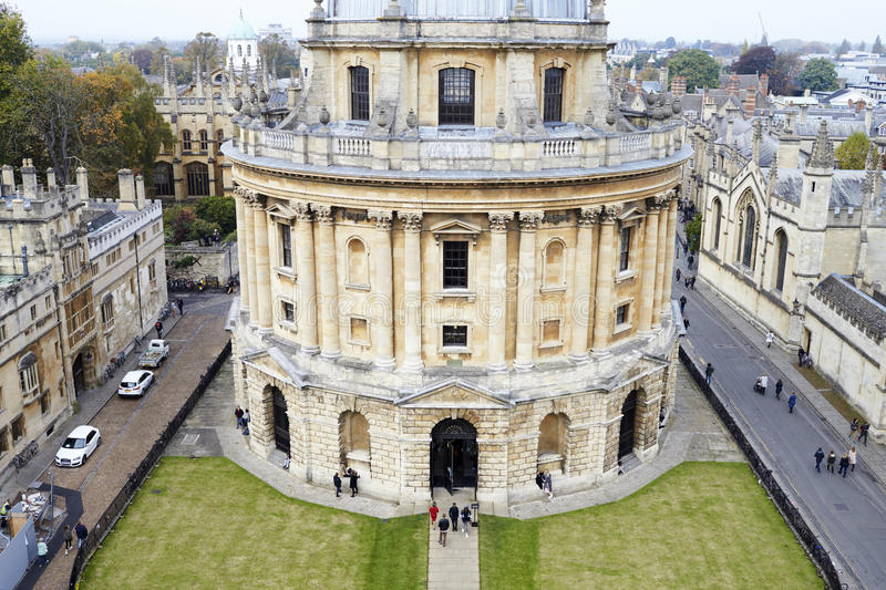 OXFORD/ UK- OCTOBER 26 2016: Elevated View Of Radcliffe Camera Building In Oxford royalty free stock images
