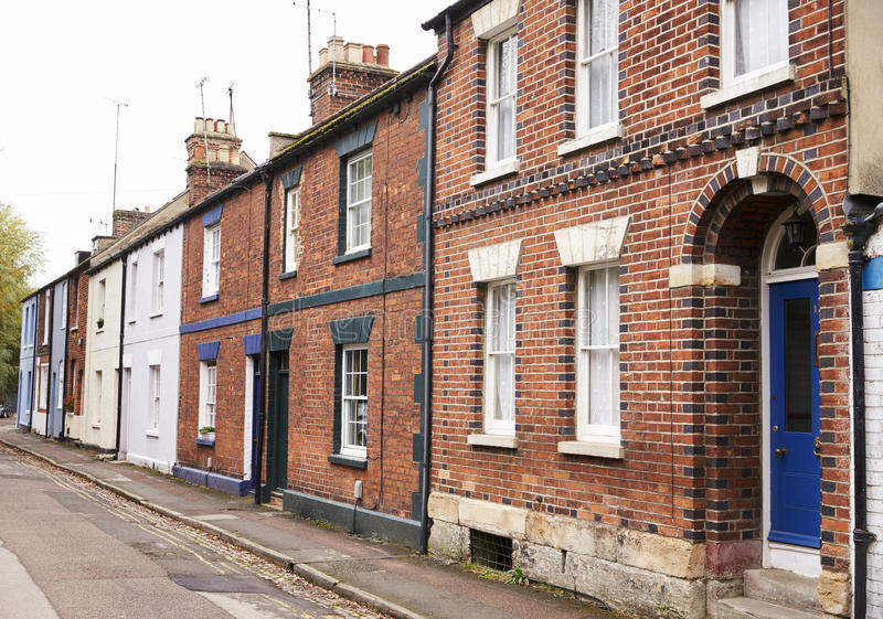 OXFORD/ UK- OCTOBER 26 2016: Exterior Of Victorian Terraced Houses In Oxford stock photography