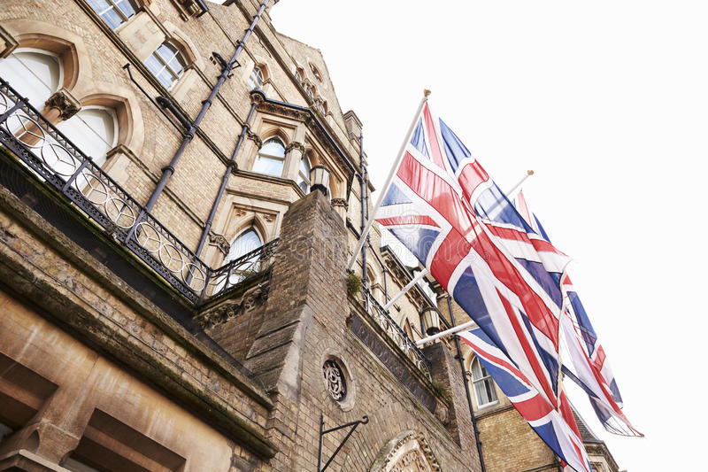 OXFORD/ UK- OCTOBER 26 2016: Union Jack Flags Outside Randolph Hotel In Oxford royalty free stock photo