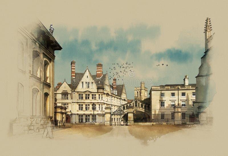 Oxford, UK, vintage graphics on old paper, watercolor sketch. Oxford, UK, watercolor sketch, vintage graphics on old paper stock illustration