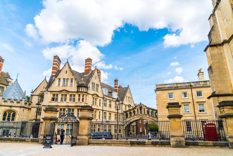 OXFORD, UNITED KINGDOM - AUG 29 2019 :  The Bridge of Sighs connecting two buildings at Hertford College in Oxford, England. UK royalty free stock photography