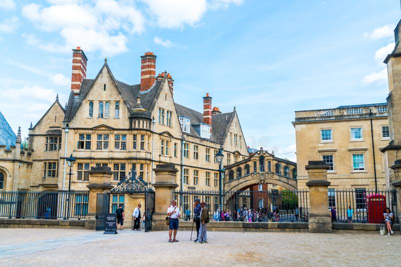OXFORD, UNITED KINGDOM - AUG 29 2019 :  The Bridge of Sighs connecting two buildings at Hertford College in Oxford, England. UK royalty free stock images