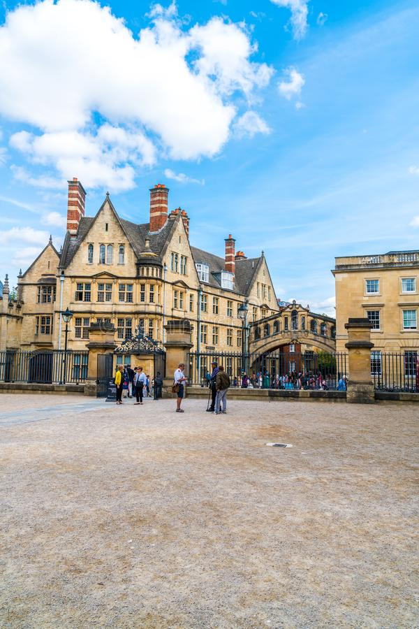 OXFORD, UNITED KINGDOM - AUG 29 2019 :  The Bridge of Sighs connecting two buildings at Hertford College in Oxford, England. UK stock photos