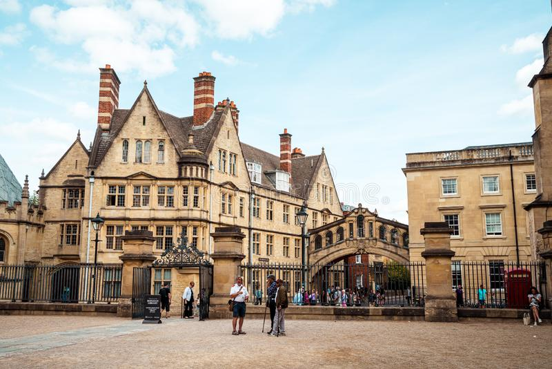 OXFORD, UNITED KINGDOM - AUG 29 2019 :  The Bridge of Sighs connecting two buildings at Hertford College in Oxford, England. UK royalty free stock image