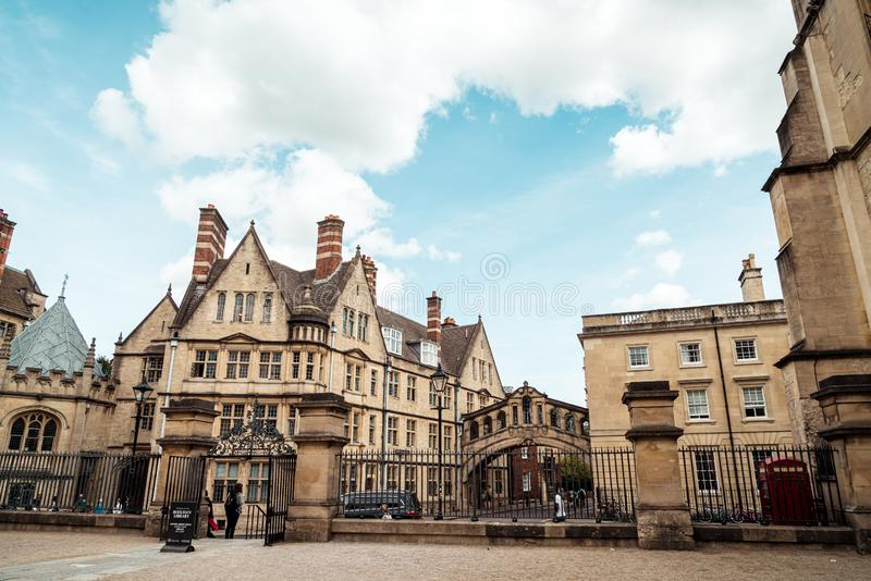 OXFORD, UNITED KINGDOM - AUG 29 2019 :  The Bridge of Sighs connecting two buildings at Hertford College in Oxford, England. UK royalty free stock photo