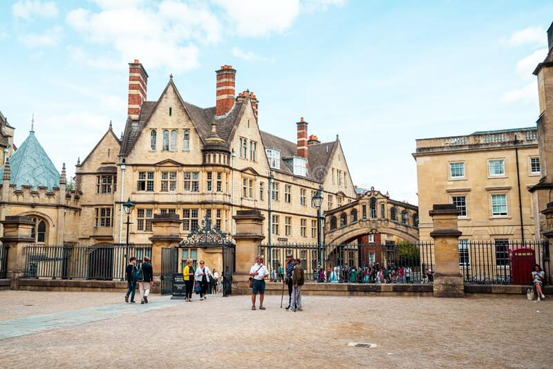 OXFORD, UNITED KINGDOM - AUG 29 2019 :  The Bridge of Sighs connecting two buildings at Hertford College in Oxford, England. UK stock photography