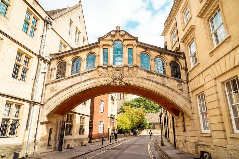OXFORD, UNITED KINGDOM - AUG 29 2019 : The Bridge of Sighs connecting two buildings at Hertford College. In Oxford, United Kingdom royalty free stock image