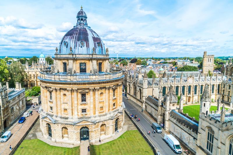 OXFORD, UNITED KINGDOM - AUG 29, 2019 - Elevated view of Radcliffe Camera and surrounding buildings, Oxford, Oxfordshire, England. United Kingdom royalty free stock photos