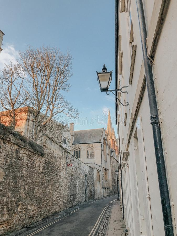 Oxford, United Kingdom:Photograph from the streets of Oxford. Lamp shade detail stock image