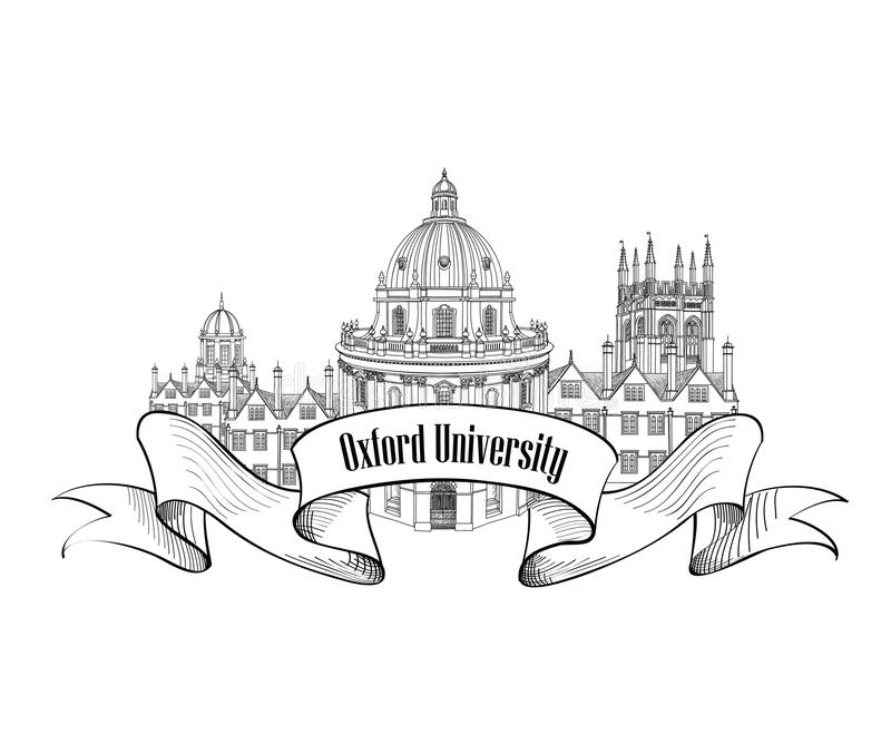 Oxford Univercity label. Oxford city skyline engraving. Oxford Univercity landmark. Oxford city skyline engraved. Arcchitectural famous buildings. Travel UK sign vector illustration