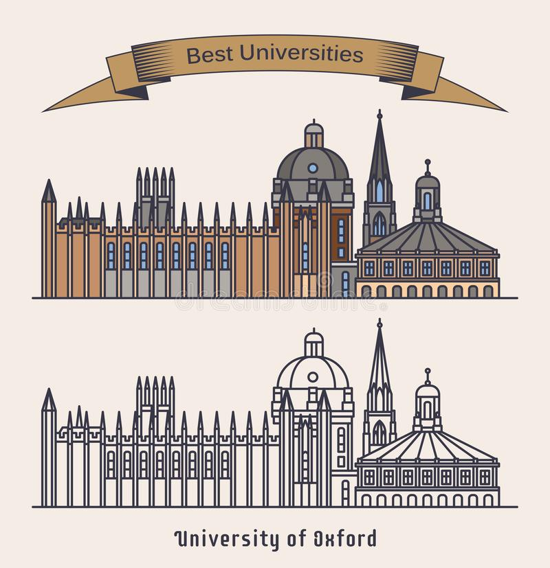 Oxford university building. Architecture,education. Oxford university or collegiate research academy. Educational building in UK or England. Exterior view on stock illustration