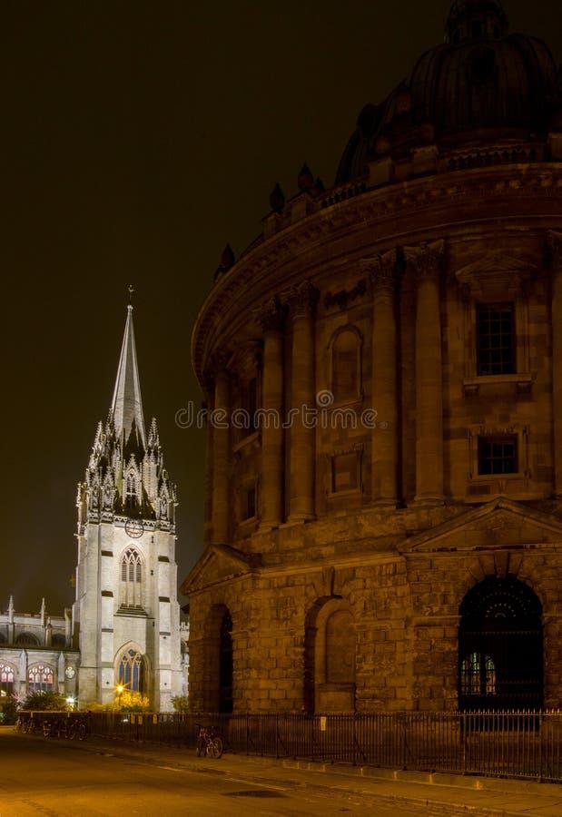 Oxford University. At night, united kingdom stock images