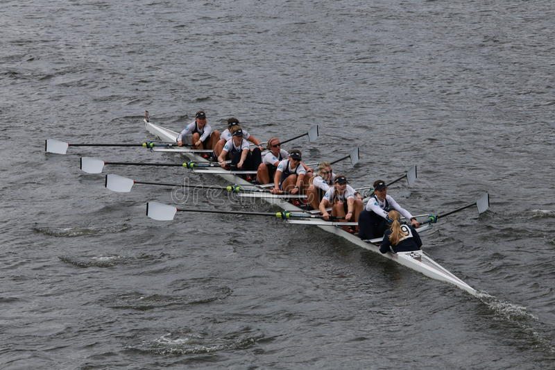 Oxford University races in the Head of Charles Regatta Women's Championship Eights royalty free stock images