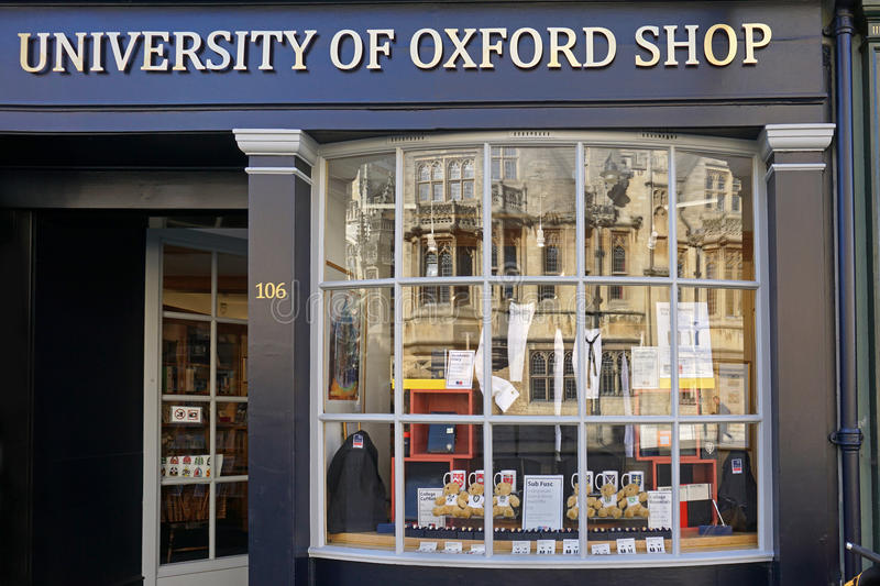 Oxford University shop. Oxford University students are required to wear formal gowns, of the type displayed in this shop stock images
