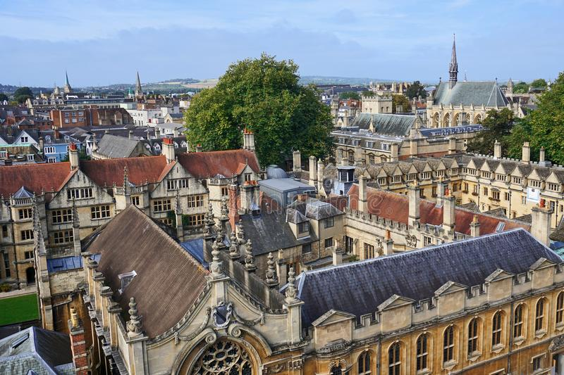 Oxford University from above stock photos