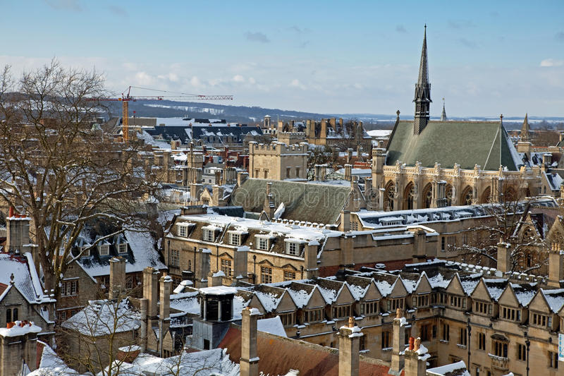 Oxford in winter time stock photography