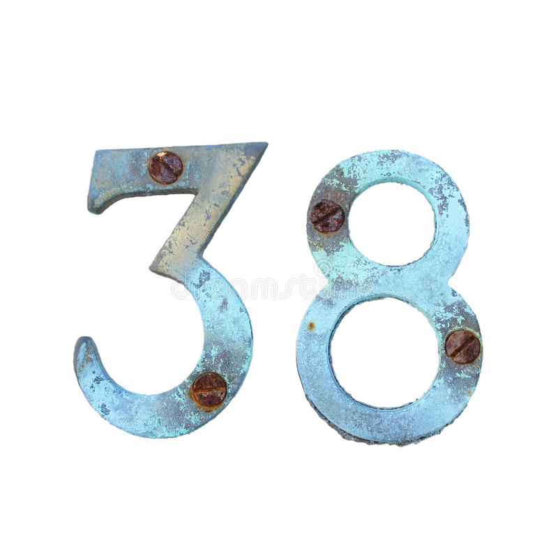 Oxidated 3 8 digits isolated royalty free stock photos