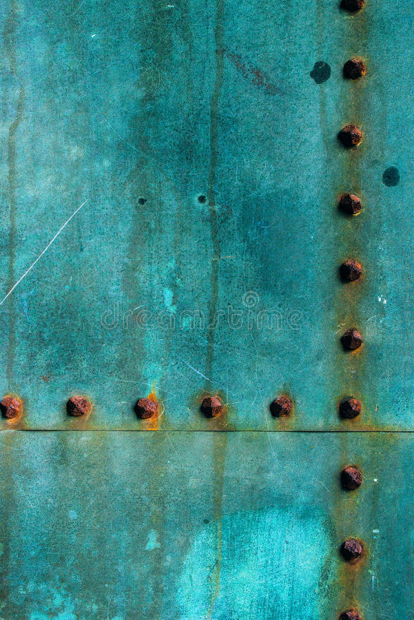 Oxidized copper plate surface texture. Abstract corroded metal background royalty free stock photo