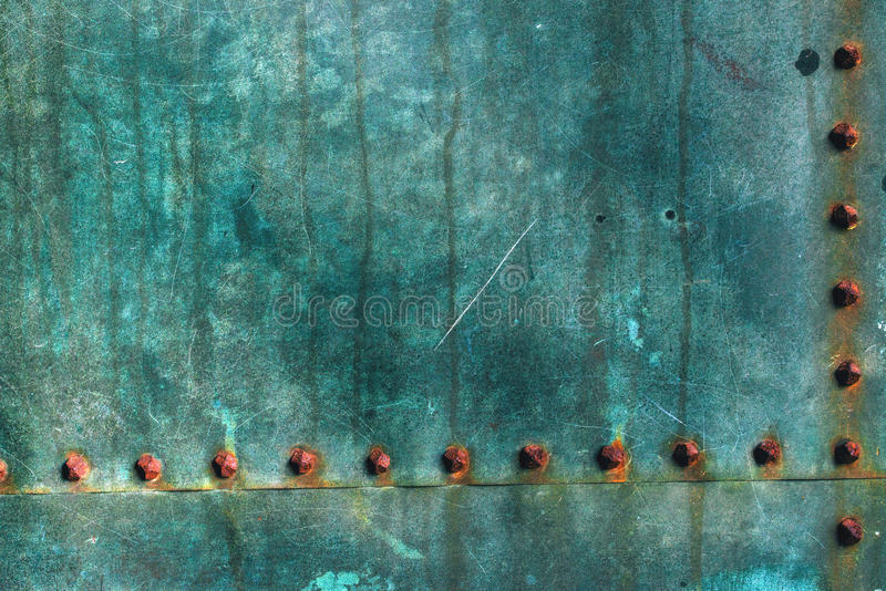 Oxidized copper plate surface texture. Abstract corroded metal background royalty free stock photos
