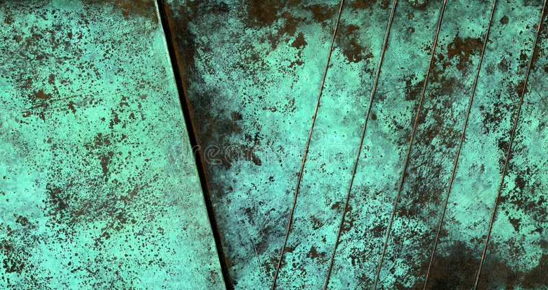 Oxidized copper texture. Showing green texture with diagonal lines royalty free stock photos