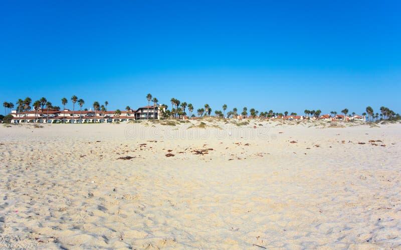 Oxnard as seen from Mandalay Beach, California. Dry sand with tropical palms of Mandalay beach on ocean side of Oxnard, Southern California royalty free stock photos