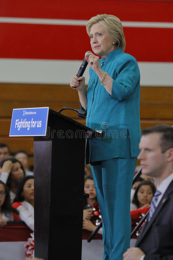 OXNARD, CA - JUNE 04, 2016: former Secretary of State Hillary Cl. Inton and Democratic Presidential Candidate speaks at a 'Get out the vote' rally at Hueneme stock images