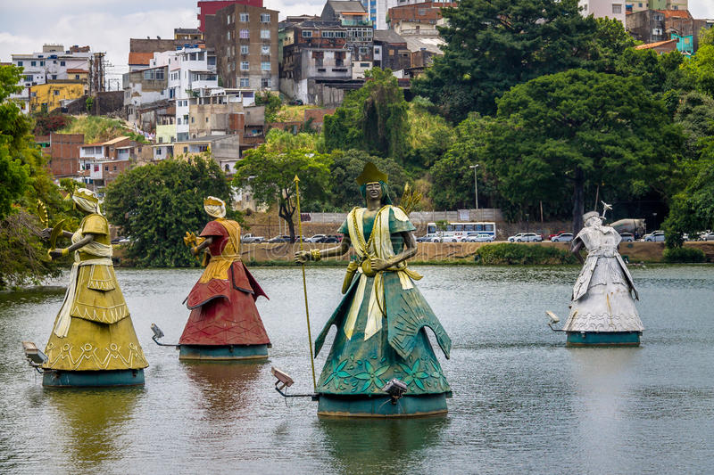 Oxum, Xango, Oxossi and Oxala Orixas Statues of Candomble traditional African saints in Dique do Tororo - Salvador, Bahia, Brazil stock photos