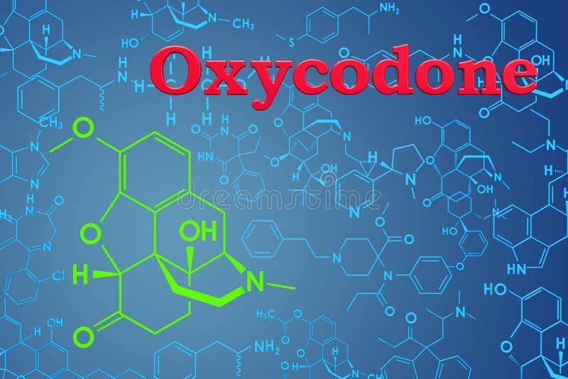 Oxycodone Chemiczna formuła, cząsteczkowa struktura świadczenia 3 d royalty ilustracja