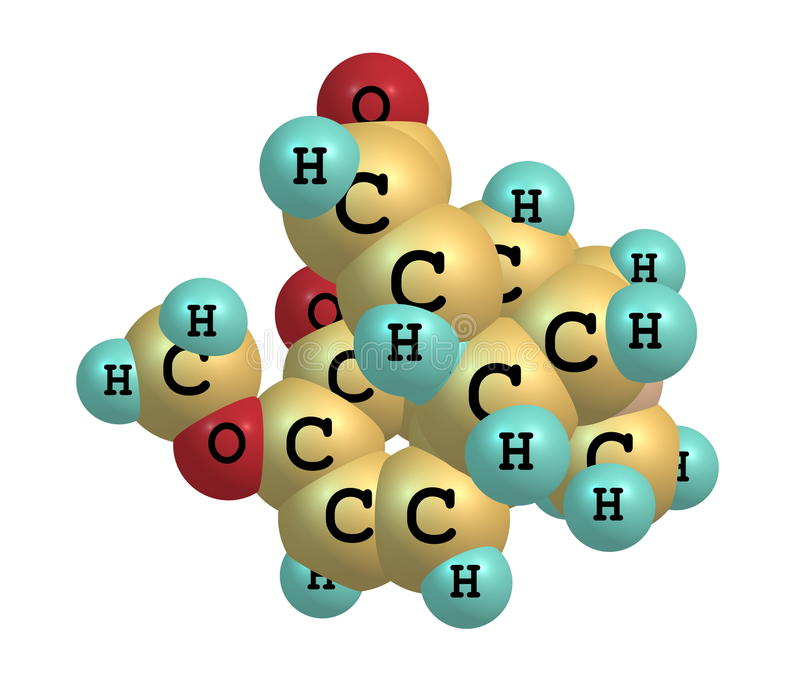 Oxycodone molekyl som isoleras på vit stock illustrationer