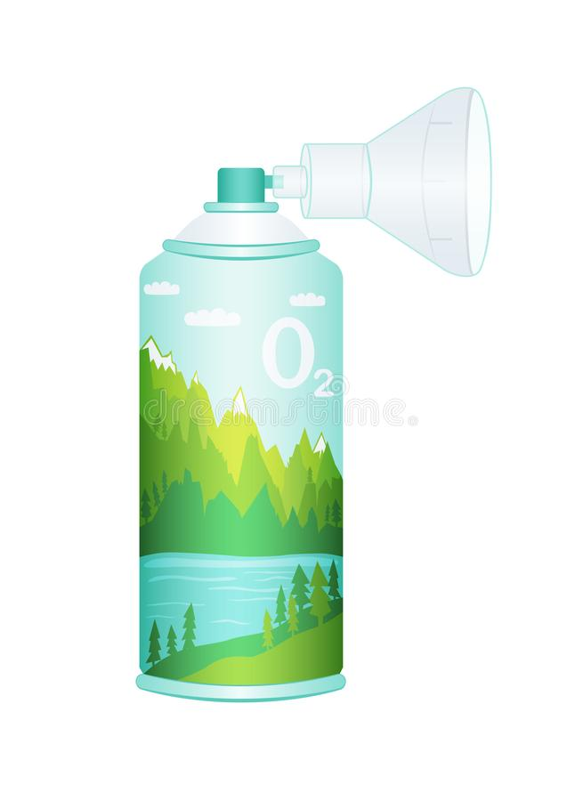 Oxygen cylinder with compressed air isolated illustration. Oxygen cylinder with compressed pure mountain oxygen for breathing. Equipment with respiratory mask vector illustration