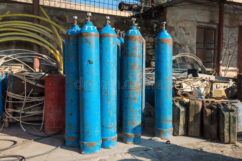 Oxygen and Gas Cylinders. High pressure oxygen or hydrogen storage tanks stock photography