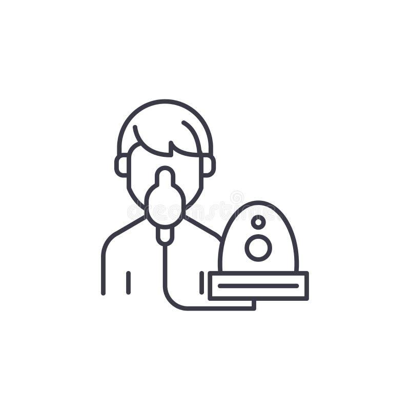 Oxygen mask linear icon concept. Oxygen mask line vector sign, symbol, illustration. stock illustration