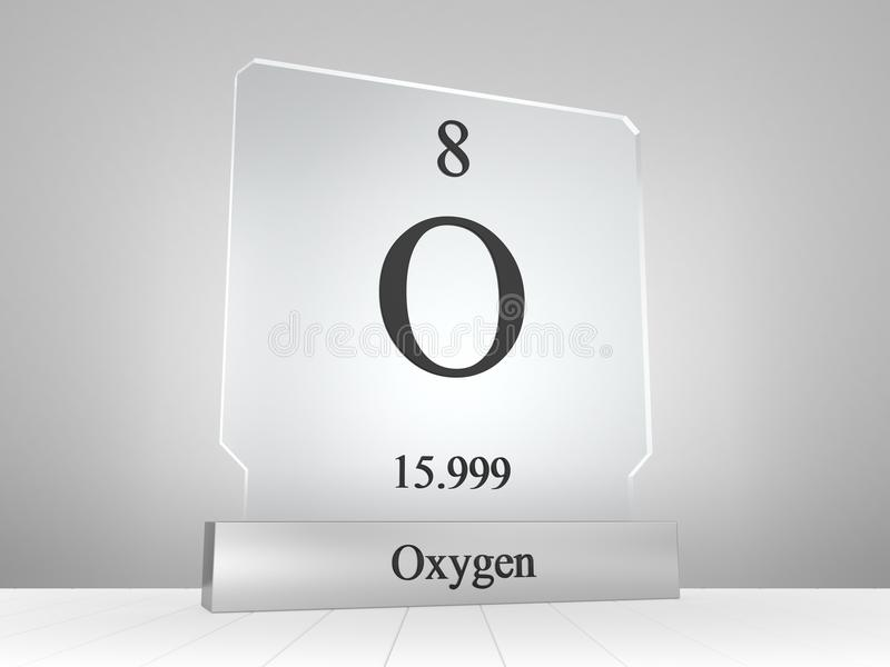 Oxygen Symbol On Modern Glass And Metal Icon Stock Illustration