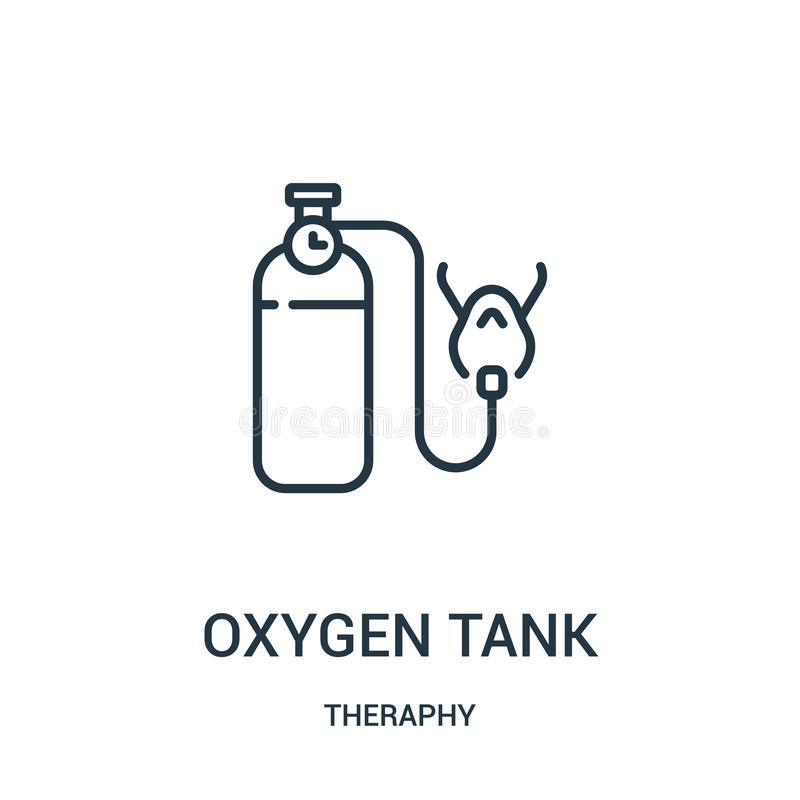 oxygen tank icon vector from theraphy collection. Thin line oxygen tank outline icon vector illustration stock illustration