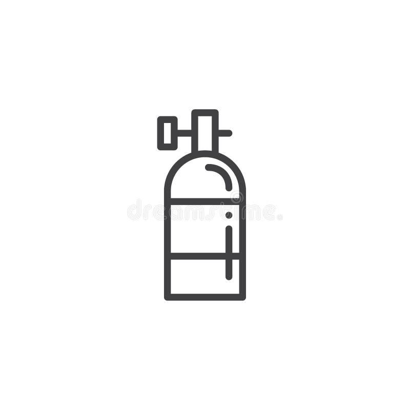 Oxygen tank line icon stock illustration