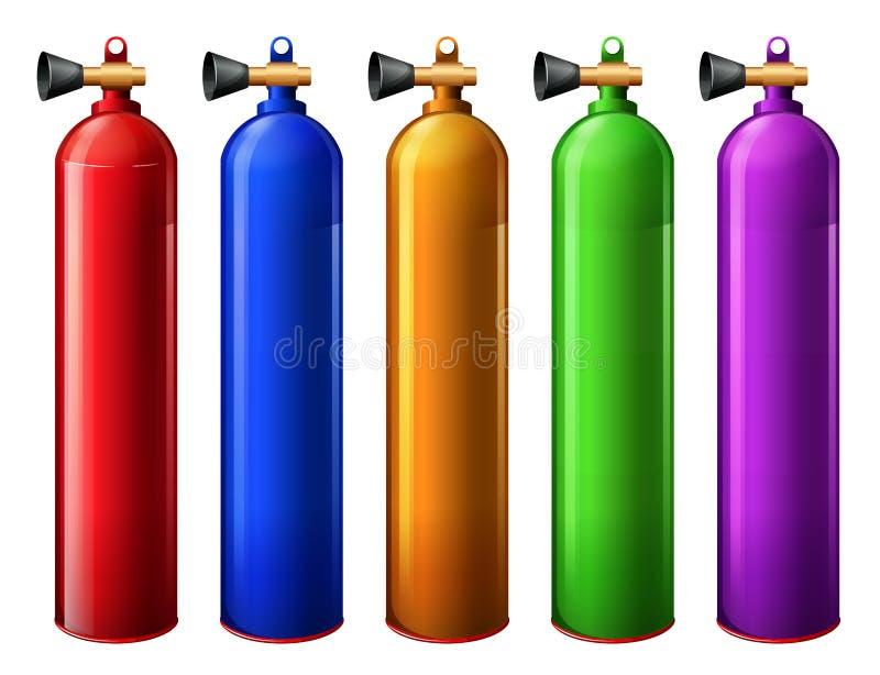 Oxygen tanks. Illustration of the oxygen tanks on a white background stock illustration