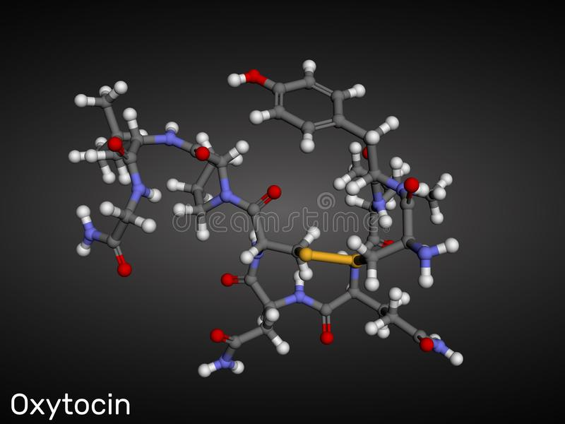 Oxytocin, Oxt, hormona do peptide e molécula do neuropeptide f?rmula qu?mica estrutural ilustração stock