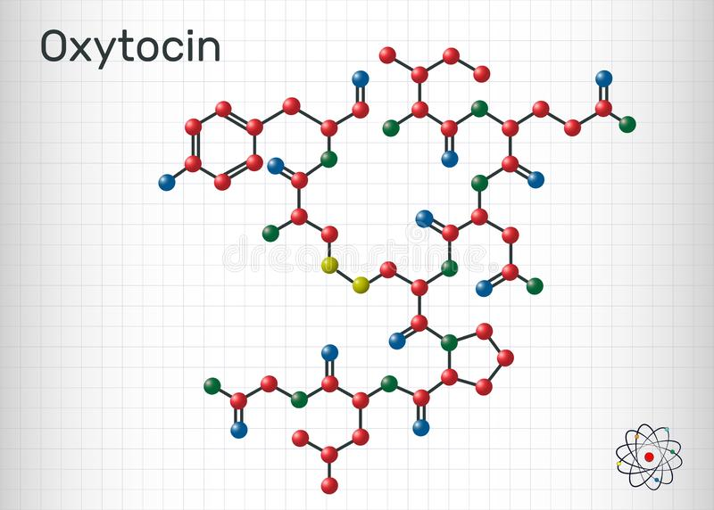 Oxytocin, Oxt, peptide hormone and neuropeptide molecule. Structural chemical formula. Sheet of paper in a cage vector illustration