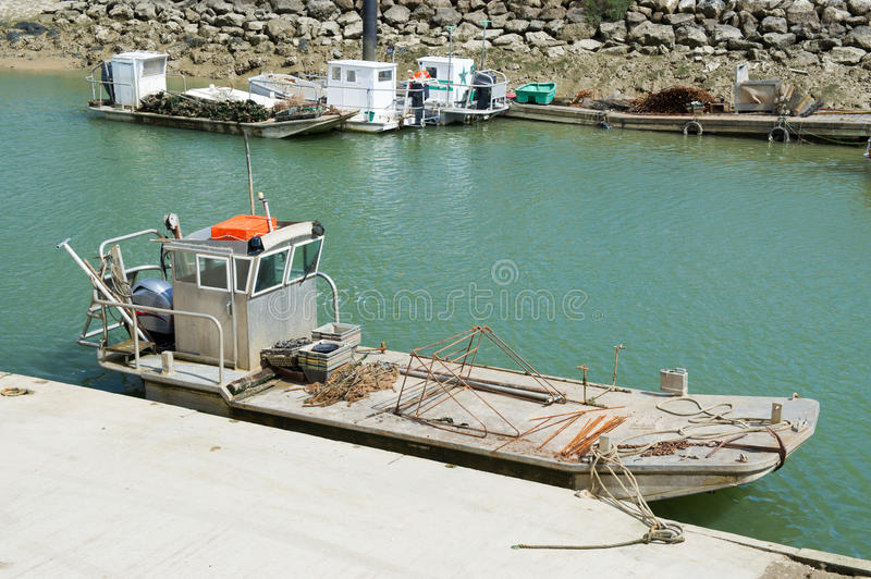 Oyster boats at Oléron island stock image