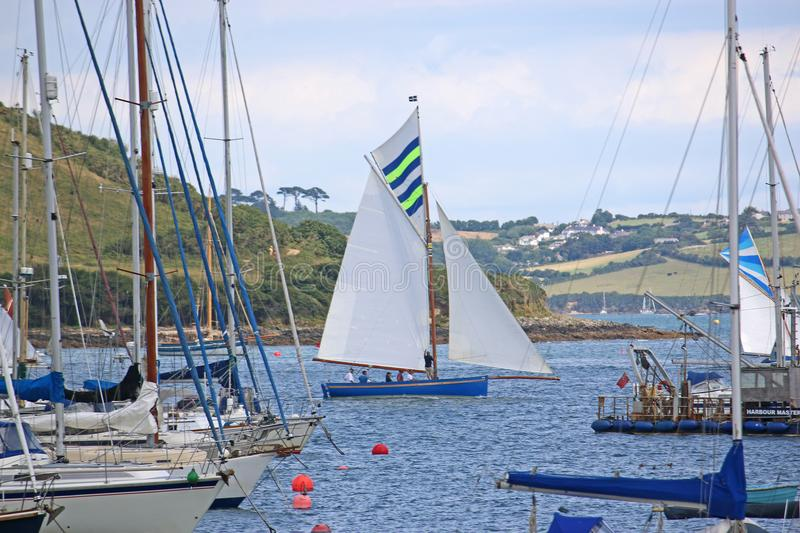 Boats on the River Fal. Oyster cutters sailing on the River Fal, Falmouth stock photos