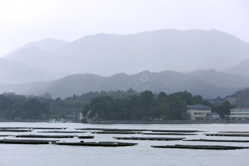 Oyster farms on the island of Honshu stock photography
