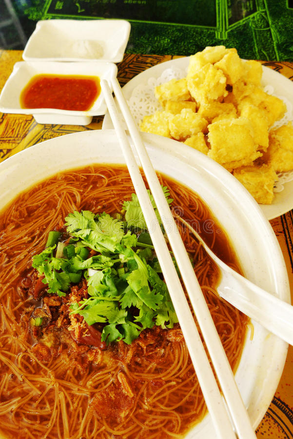 Taiwanese street dishes, oyster vermicelli & fried stock photo