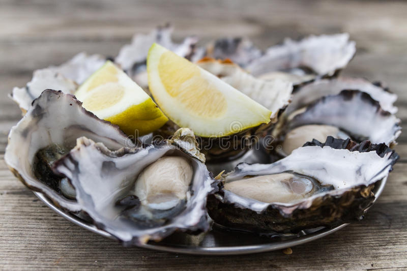 Oysters with lemon. On a picnic table from Bruny Island in Tasmania, Australia