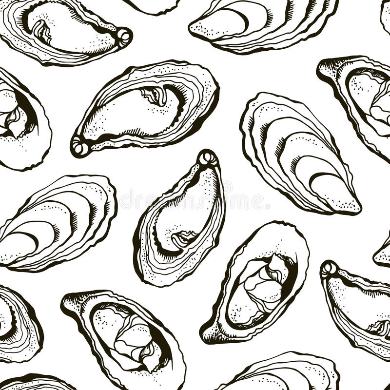 Oysters pattern royalty free illustration
