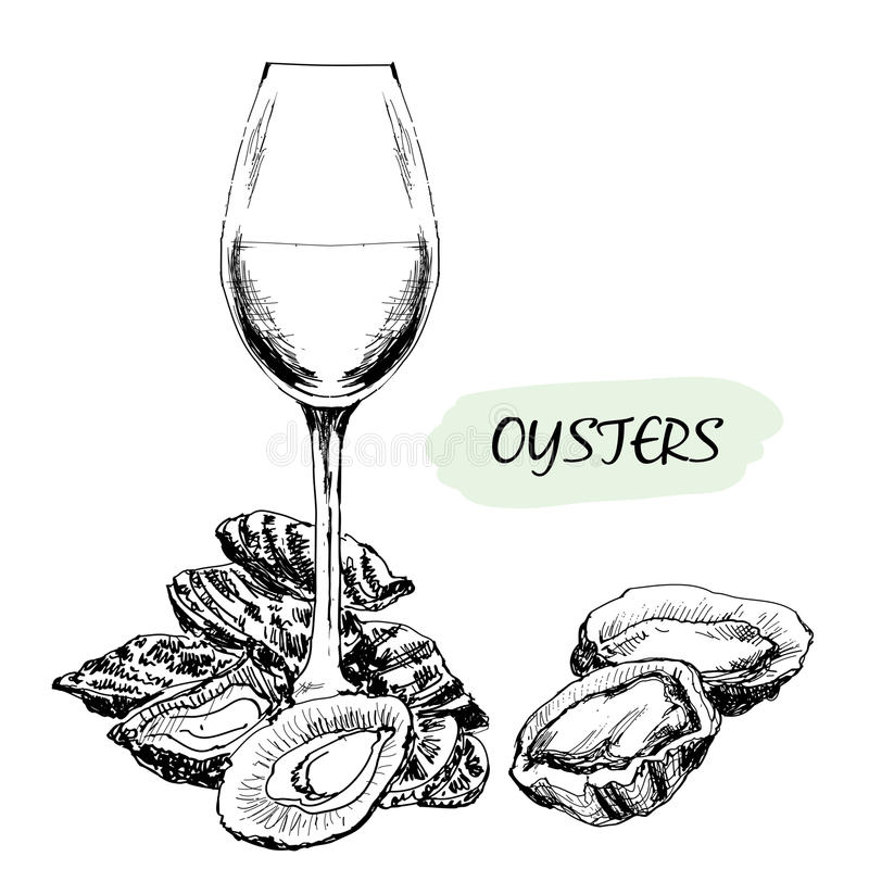 Oysters and wine glass stock illustration