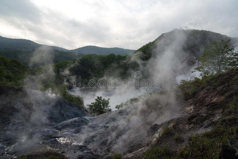 Oyunuma, vale do inferno de Jigokudani, Noboribetsu, Japão imagem de stock royalty free