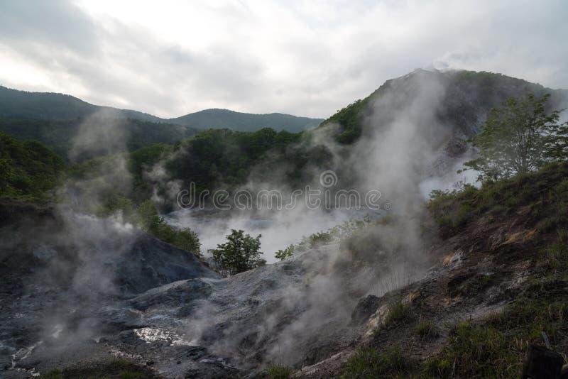 Oyunuma, vallée d'enfer de Jigokudani, Noboribetsu, Japon image libre de droits